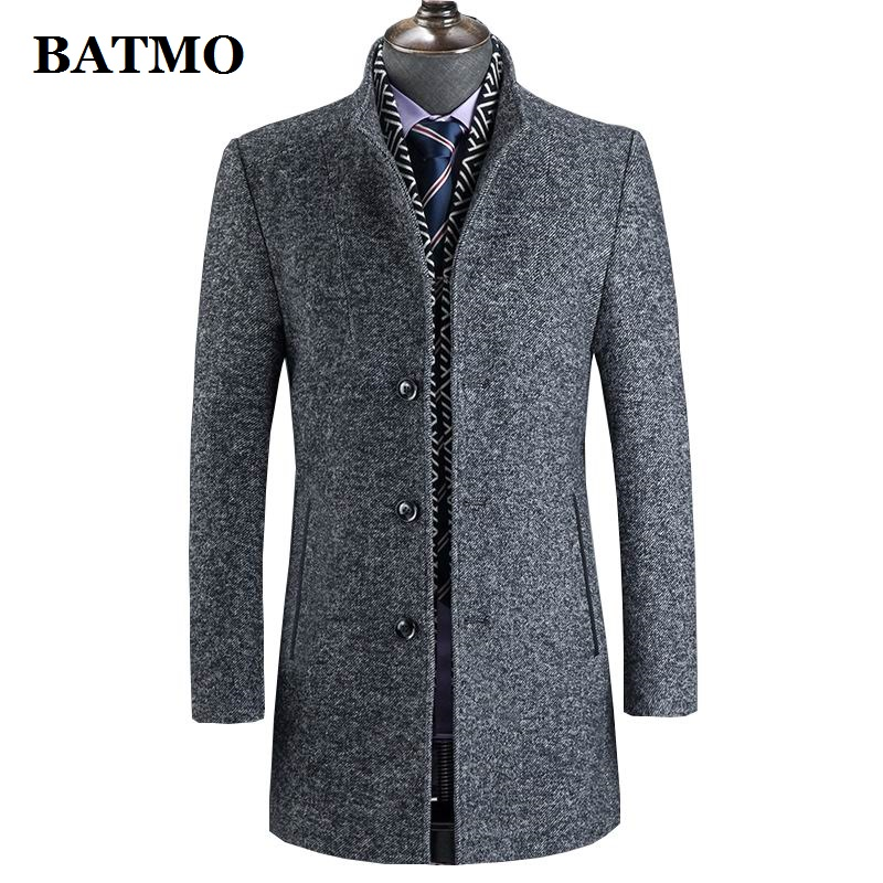 BATMO 2019 New Arrival Winter Wool Thicked Trench Coat Men,men's Grey Casual Wool 60% Jackets,828