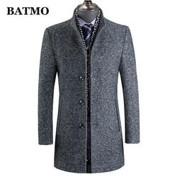 BATMO 2020 Новое поступление, Зимняя шерстяная Толстая тренчкот для мужчин, мужская серая повседневная шерстяная куртка 60%, 828