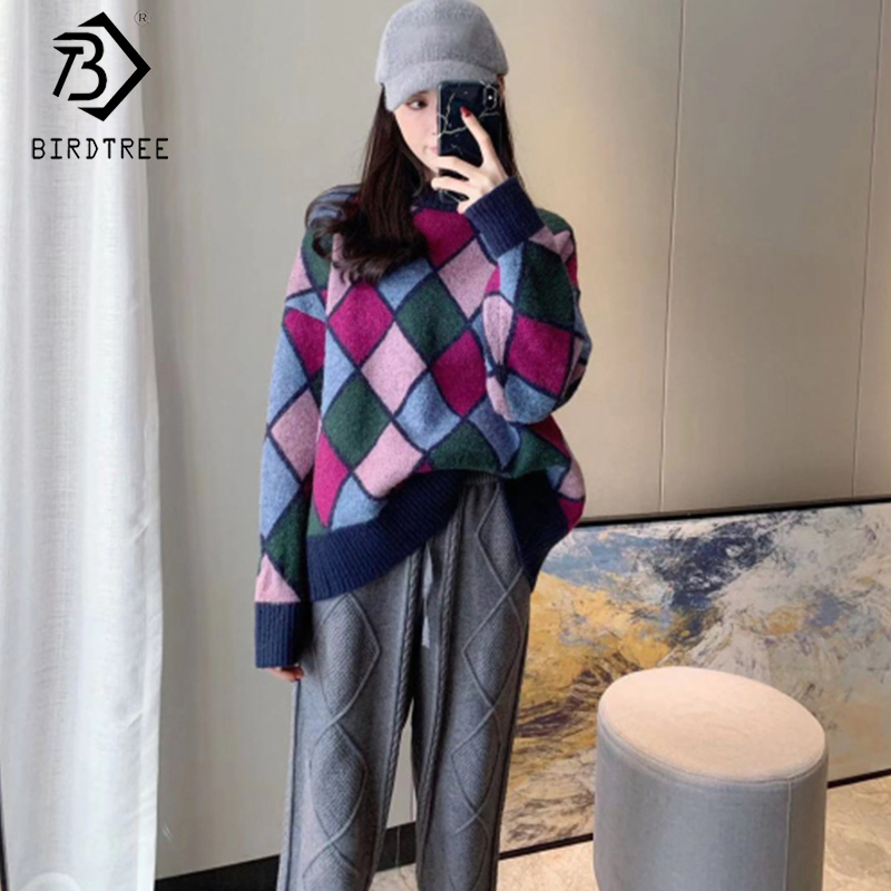 2019 Winter New Women's Knitting Suits Vintage Two Pieces Set Full Sleeve O-Neck Pullover Sweater Top And Long Pant S9N804K