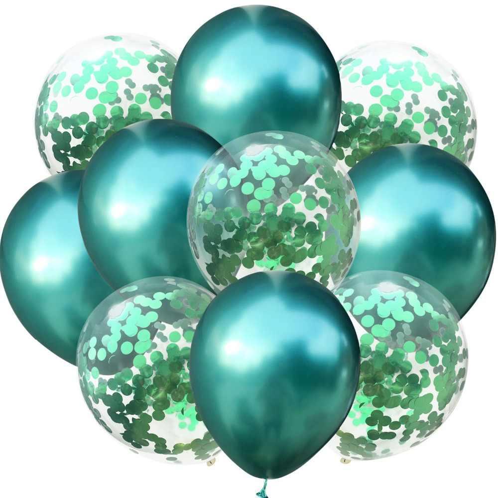 10 Uds. Mucho globo de confeti de látex metálico de 12 pulgadas Globos niños suministros para fiestas, bodas y cumpleaños Globos de Metal cromado