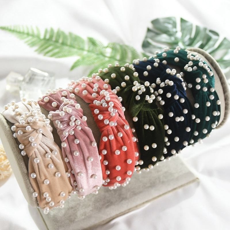 12 colors Korean Pearl Headband for Women Bezel Simple Knotted Hair Loop Women Hairband Fashion Headwear Girls Hair Accessories in Women 39 s Hair Accessories from Apparel Accessories