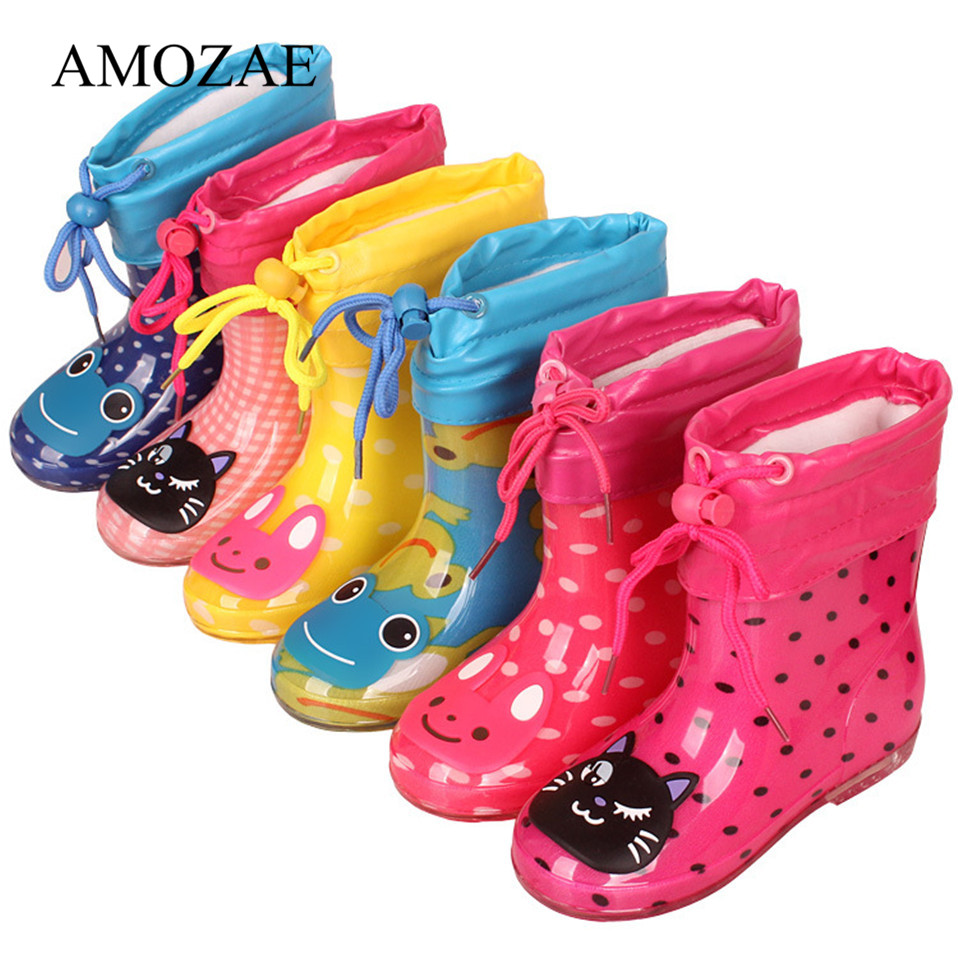 New Spring Autumn Rain Boots Children With Plush Warm Ankle Boots Boys Baby Toddler PVC Waterproof Water Shoes Kids Girls