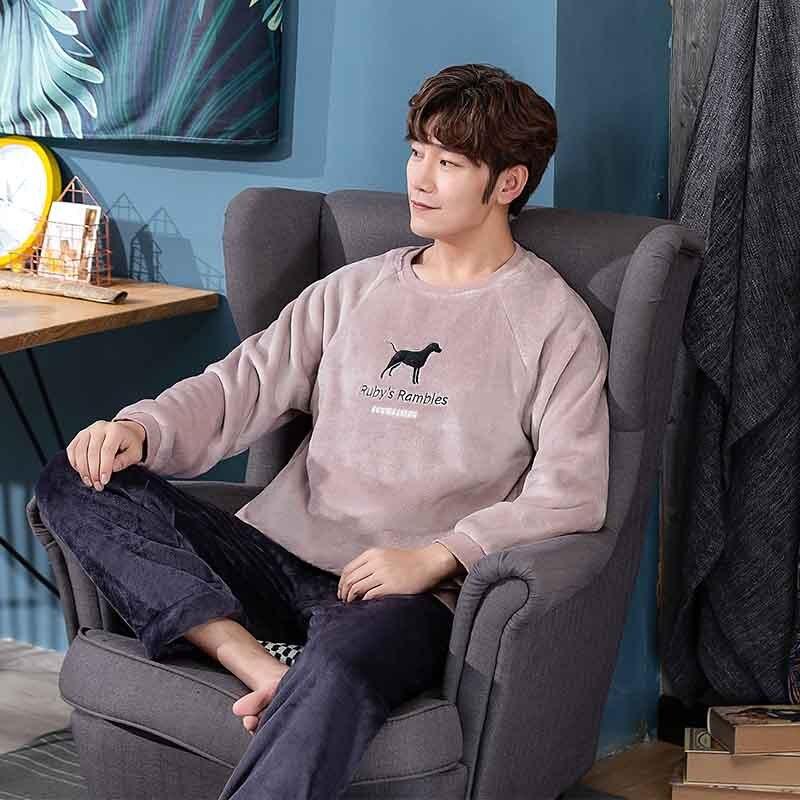 2019 novo estilo de pijamas masculinos definir outono inverno quente flanela engrossar masculino pijamas conjuntos manga longa pijamas topo + calça lazer
