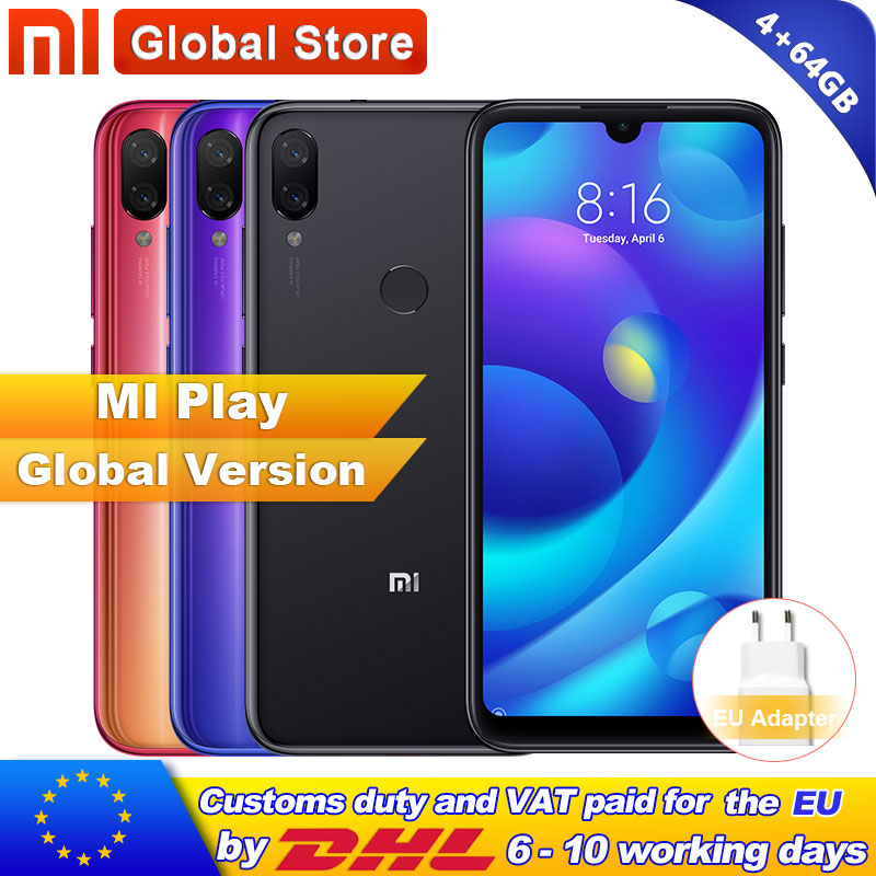 "Global Version Xiaomi Mi Play 4GB RAM 64GB ROM Telephone MTK Helio P35 Octa Core Dual 12MP+2MP AI Camera 5.84"" 19:9 Smartphone"