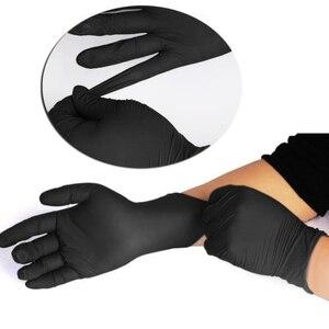 100 шт./лот, перчатки для механиков, нитриловые перчатки для бытовой уборки, черные лабораторные перчатки для нейл-арта, антистатические защи...