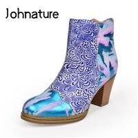 Johnature en cuir véritable bottines bout rond talon carré femmes chaussures Zip 2020 nouveau automne hiver imprimer loisirs plate-forme bottes
