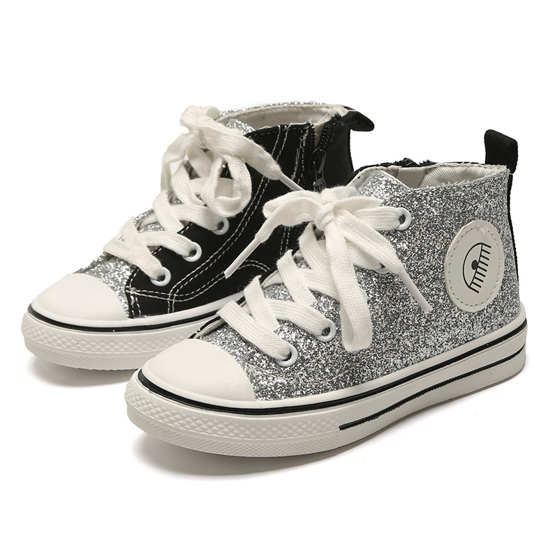 Kids Shoes For Girl Children Canvas Shoes Boys Sneakers 2017 Spring Autumn Girls Shoes Glitter Short Solid Fashion Children Shoe