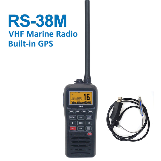 Recente RS 38M Vhf Radio Ingebouwde Gps 156.025 163.275 Mhz Float Transceiver Tri Horloge IP67 Waterdicht walkie Talkie