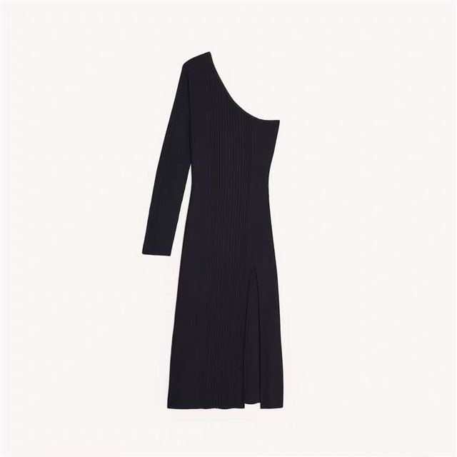 2020 Spring/summer New Strapless Dress with Slit Ribbed Sexy Waist and Slim Knit Dress Casual Dresses Black Dress  Women Dress