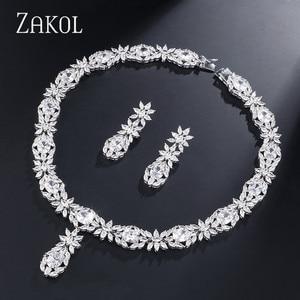 Image 3 - ZAKOL Trendy Style White Color Green Zirconia Bride Wedding Jewelry Set Flower Earrings Necklace For Europe Women FSSP2007