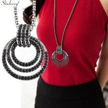SINLEERY роскошный черный кубический цирконий многослойный круг большой кулон длинное ожерелье Женская Черная цепочка Винтажные Ювелирные изделия MY017 SSB