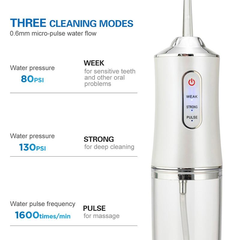 Ирригатор для полости рта зубов, 3 режима, USB, перезаряжаемый водный Флоссер переносная зубная вода Jet, емкость для воды 220 мл, водонепроницаемый очиститель зубов отбеливание зубов иригатор для зубов 2