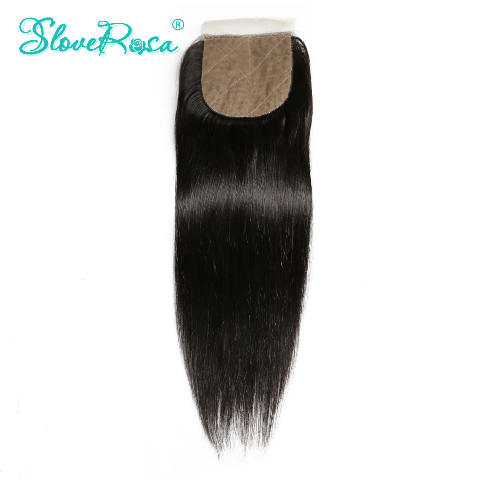 Slove Rosa Silk Base Closure Straight Free Part Brazilian Remy Human Hair 4x4 Middle Brown Lace