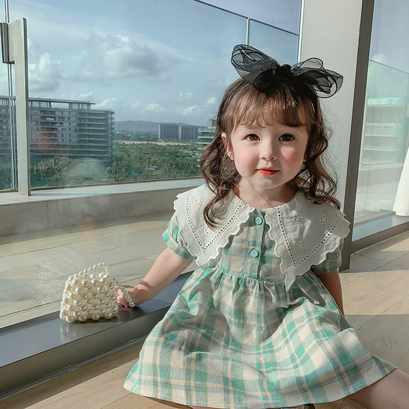 2021 Summer Plaid Girls Princess Dress Peter Pan Collar Toddlers Kids Short Sleeve Clothes Children Dresses Korean Baby Clothes