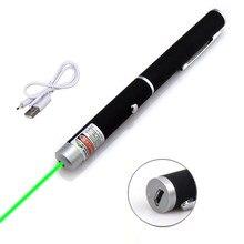 Caneta esferográfica portátil poderosa verde 201 5mw 532nm do laser de usb com escala do laser do cabo 500-1000m apropriada para palestras e reunião