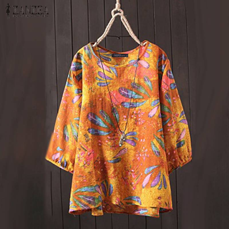 ZANZEA Summer Women O Neck 3/4 Sleeve Blouse Vintage Floral Printed Tops Retro Flower Shirt Casual Losse Blusas Oversize Chemise