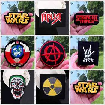 Nicediy Rock Hippie Band Patch Strange Things Iron On Patches For Clothing Star Wars Embroidered Stripe Sticker Clothes