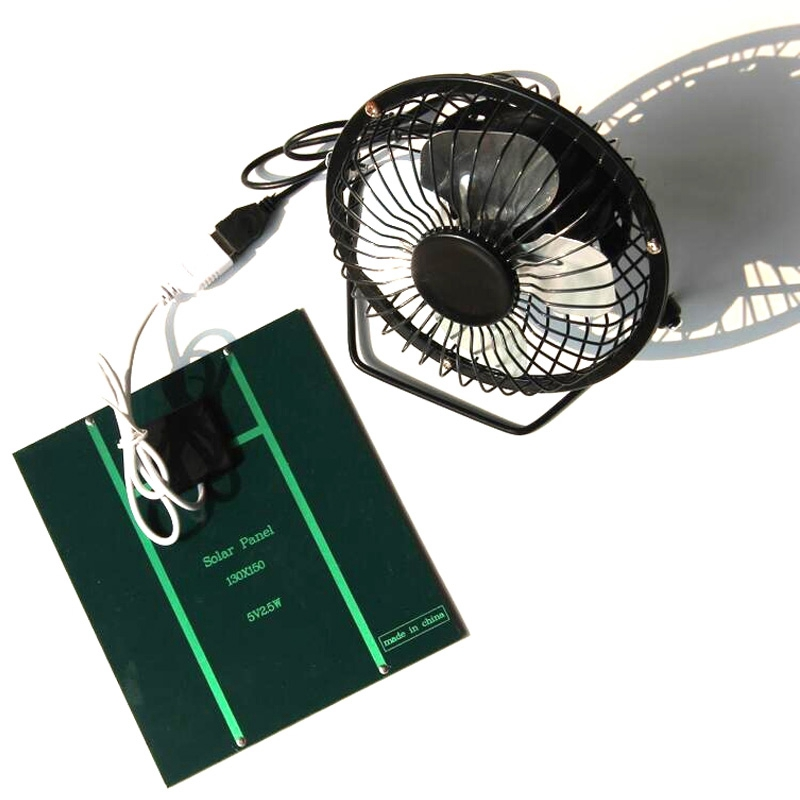 2 5W 5V Solar Powered Panel Iron Fan For Home Office Outdoor Traveling Fishing 4 Inch Cooling Ventilation Fan Usb New in Fans from Consumer Electronics