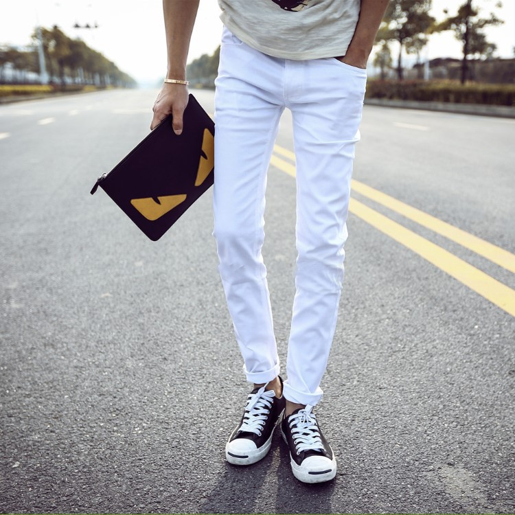 BOY'S Summer Thin Section Jeans Men Slim Women's Korean-style Youth Summer Students Trend Slimming Skinny Pants
