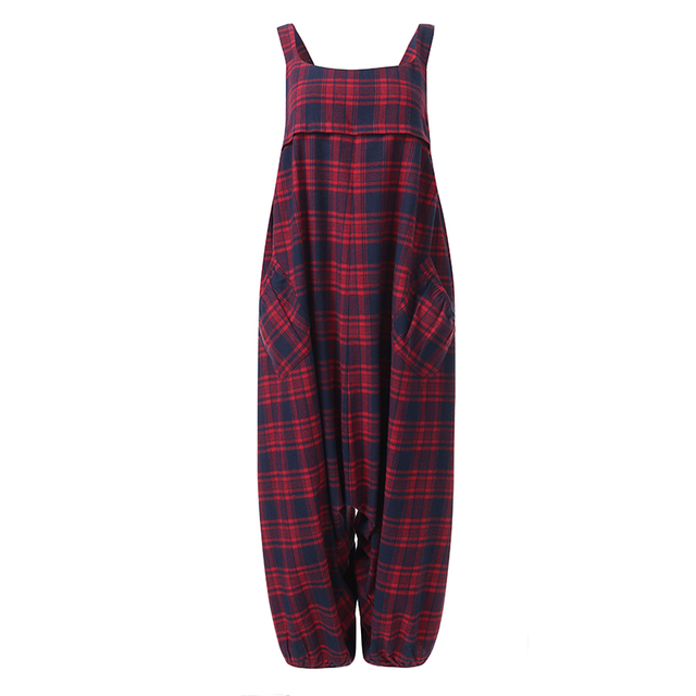 ZANZEA Summer Sleeveless Drop Crotch Overalls Women Jumpsuits Vintage Plaid Checked Rompers Baggy Loose Suspenders Lantern Pants 5