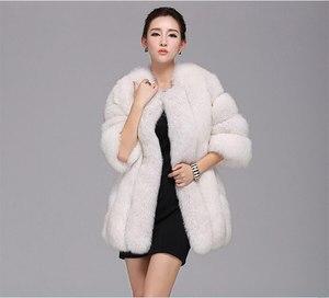 Image 3 - Abrigo de piel a la moda, cálido abrigo de piel de 100% para Chaqueta de piel Natural, chaquetas mullidas de manga larga elegantes para mujer, chaquetas de piel artificial de talla grande, abrigo S 3XL, 2020