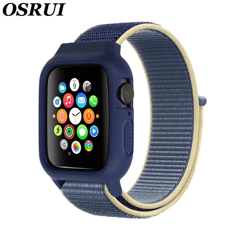 Case+ strap For <font><b>Apple</b></font> <font><b>Watch</b></font> band 44 mm 40mm iwatch nylon band <font><b>42mm</b></font> 38mm <font><b>pulseira</b></font> <font><b>apple</b></font> <font><b>watch</b></font> 5 4 3 correa watchband bracelet image