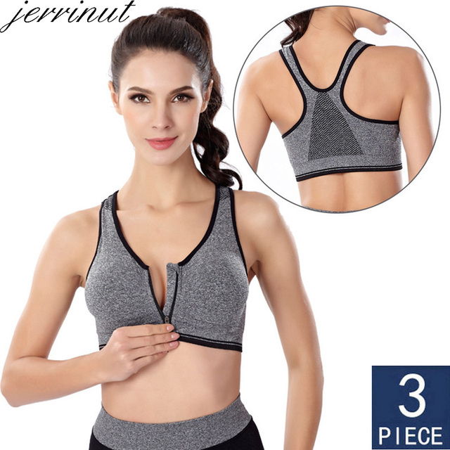 3pcs לדחוף למעלה Bralette חזיות לנשים חלקה חזייה עם מרופד קדמי רוכסן ספורט חזייה Wirefree Bralette כושר חולצות