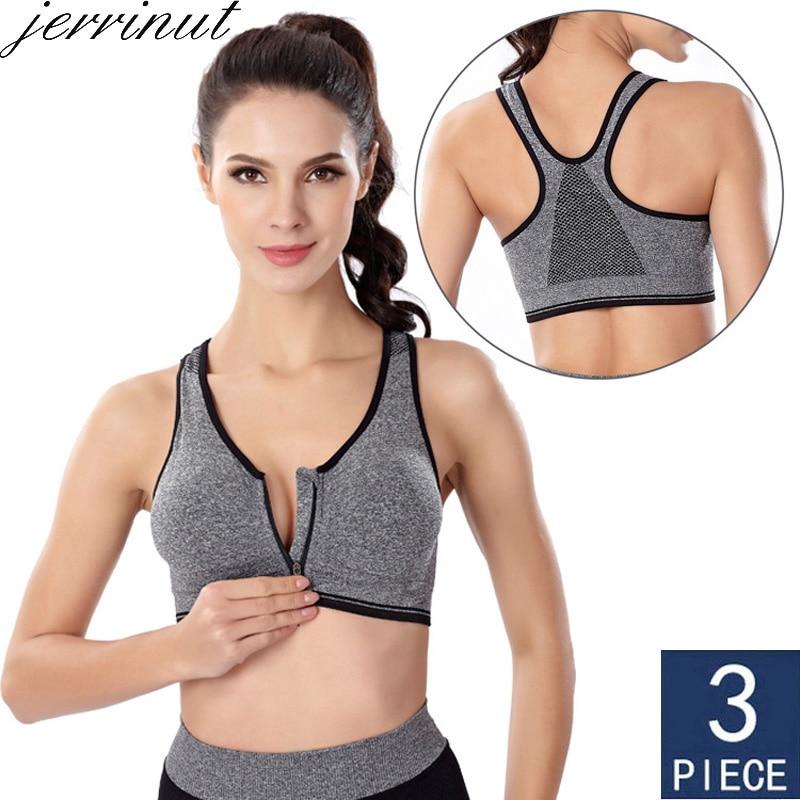 3pcs Push Up Bralette Bras For Women Seamless Bra With Padded Front Zipper Sport Brassiere Wirefree Bralette Fitness Tops