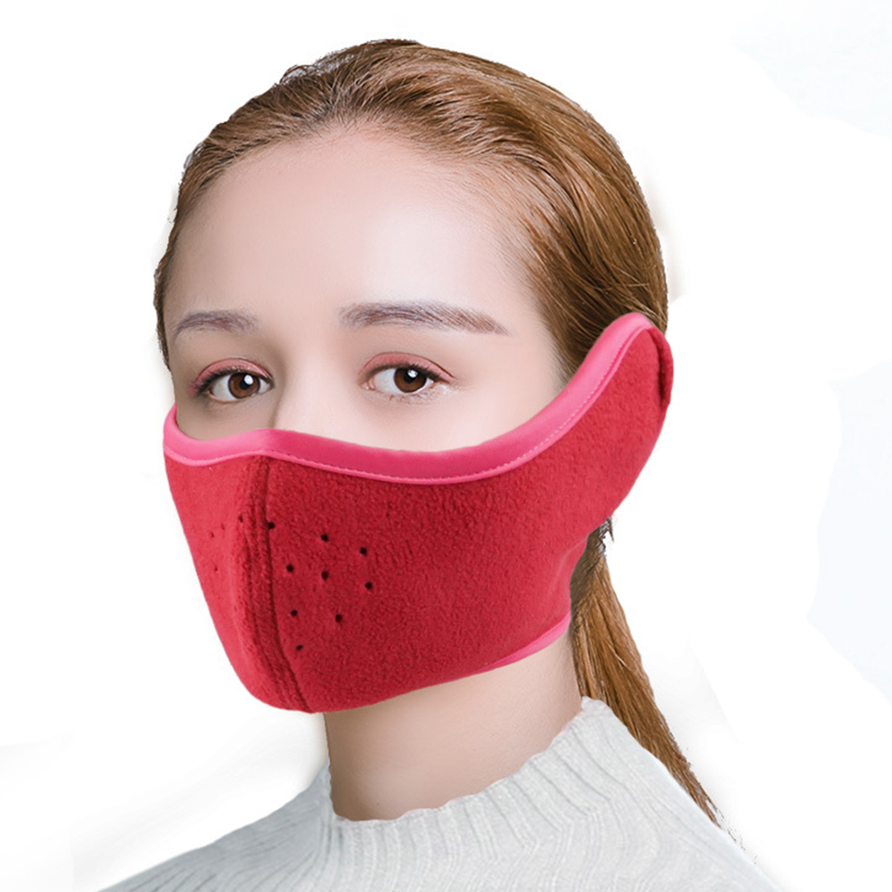 Men Women Binaural Comfortable Half Face Hiking Riding Fall Winter Sports Outdoor Ski Cycling Earmuffs Thermal Warm Mask Soft