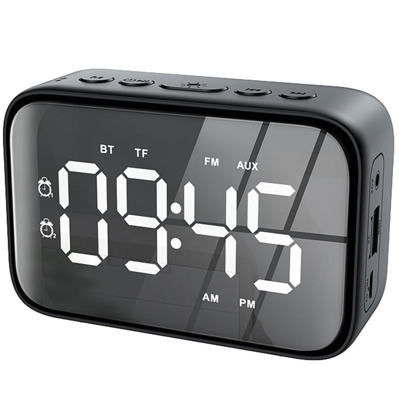 Digital Alarm Clock Radio with FM Radio, Bluetooth Speakers with Headphone Jack, Dual Alarms, 5 Level Brightness Dimmer, Adjusta
