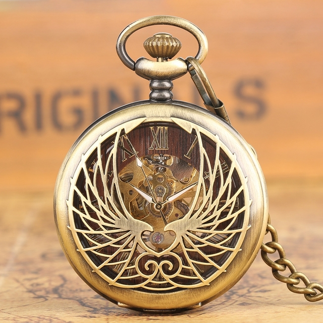 Steampunk Black/Bronze Hollow Phoenix Carving Mechanical Pocket Watch Roman Numerals Display Pin Chain Retro Clock Collectibles