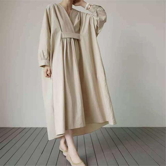 Johnature 2021 Autumn New Korean V-neck Full Sleeve Plus Size Solid Color Dresses Women Casual Loose Pockets Female Dress 3