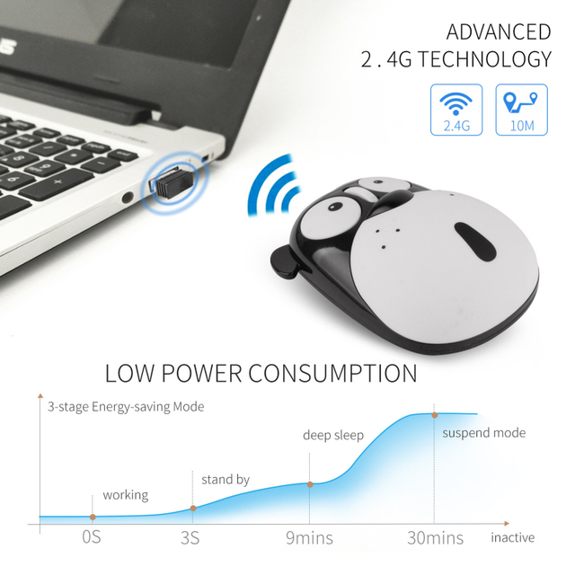 1pc Newest Power Saving Mute Rechargeable Wireless Mouse Cute Animal Puppy Mouse 2.4G Wireless Mouse Rechargeable Mouse 3