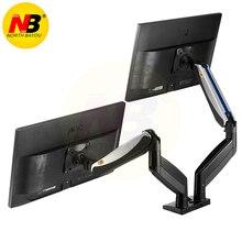 NB F185A Alüminyum Alaşım 22 27 inç Çift LCD LED Monitör Dağı Gaz Bahar Kol Tam Hareket Monitör tutucu destek 2 USB Portu ile