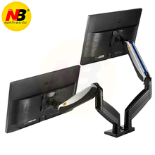 Nb f185a 알루미늄 합금 22 27 인치 듀얼 lcd led 모니터 마운트 가스 스프링 암 풀 모션 모니터 홀더 2 개의 usb 포트 지원