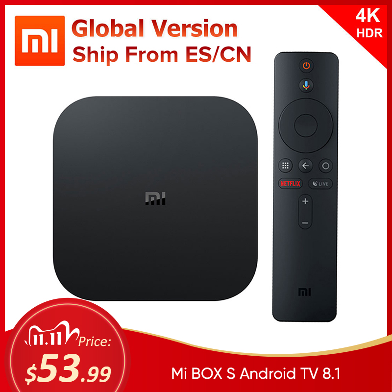 Xiaomi Mi TV Box S Android TV Box 8 1 Global Version 4K HDR Quad-core Bluetooth 4 2 Smart TV Box 2GB DDR3 Smart control