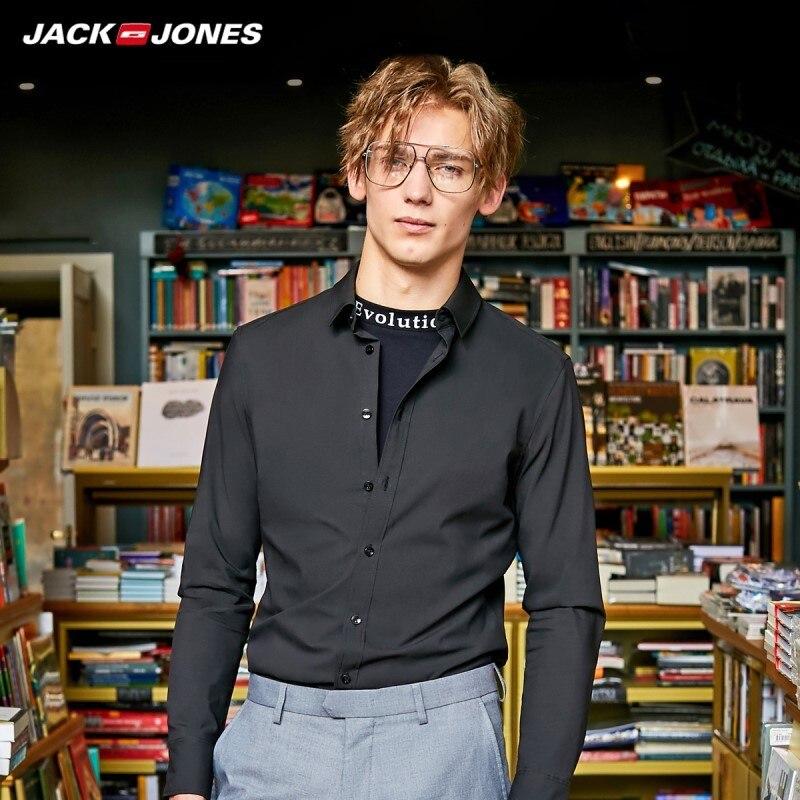 JackJones Men's Smart Casual Turn-down Collar Long-sleeved Shirt Basic 219305535