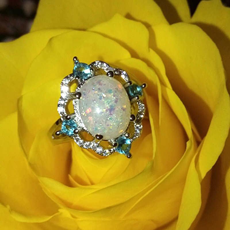 Fire โอปอลงานแต่งงานแหวนแฟชั่นผู้หญิงเครื่องประดับคริสตัลแหวนของขวัญหมั้นแหวน Bague Femme Anillos Mujer F5J327