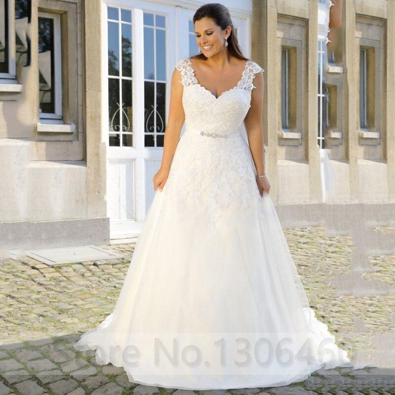 Plus Size Custom Made Sexy V Neck Wedding Dress For Women Appliques Beading Belt Bride Dress Vestido De Noiva 2019