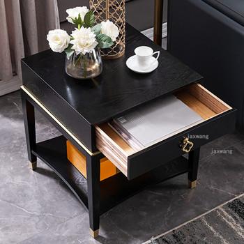 Luksusowe stoliki z litego drewna nowoczesna Sofa stolik Nordic Sofa stoliki sypialnia obok róg stołu stół dom umeblowanie tanie i dobre opinie CN (pochodzenie) China Nowoczesne 60*45cm Europa i ameryka Rectangle Samowystarczalny