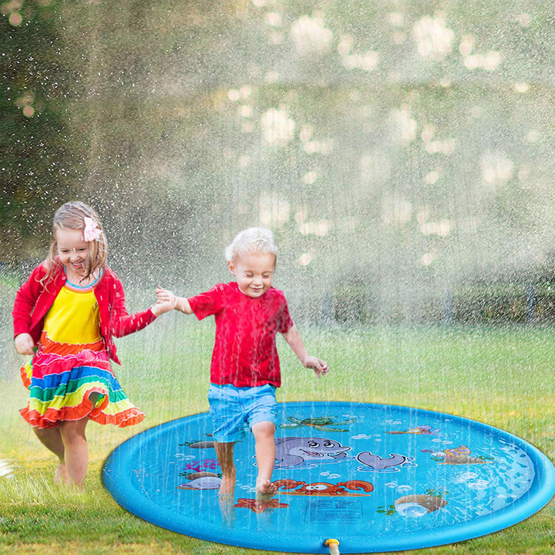 170cm Children Play Water Mat Games Beach Pad Kids Outdoor Water Spray Beach Mat Lawn Inflatable Sprinkler Cushion Toys Cushion