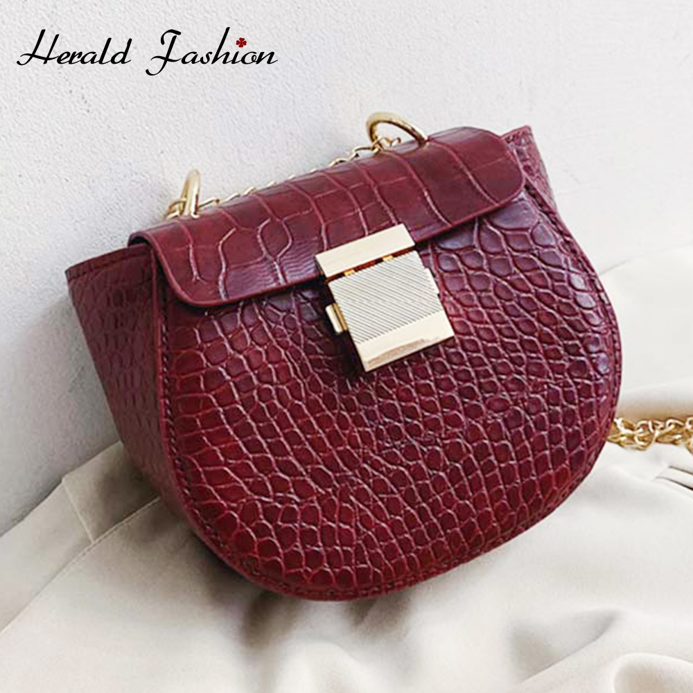 Crocodile Pattern PU Leather Shoulder Messenger Bags For Women 2020 Fashion Mini Crossbody Bag Female Chain Handbags And Purses