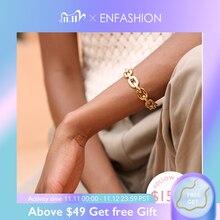 Enfashion saf formu orta Link zinciri manşet bilezik ve bilezikler kadınlar için altın renk moda takı takı Pulseiras BF182033