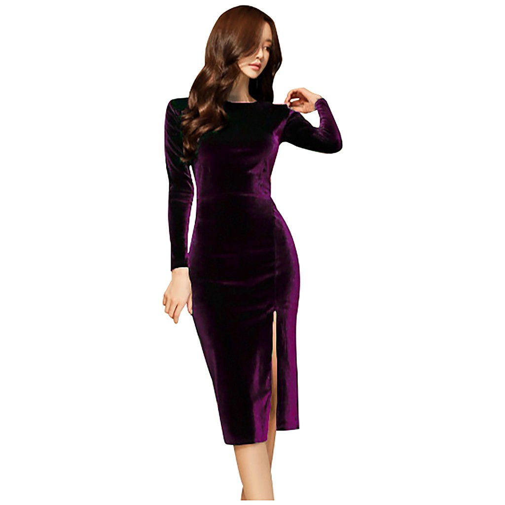 sexy women s trend comfortable simple O neck long sleeved dress suede tight common dress