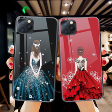 ciciber Luxury Dress Girl Phone Case For iphone 11 Pro Max Tempered Glass Cover Cases for iphone XR X XS Max 7 8 6 6S Plus Funda ciciber dragon ball phone case for iphone 11 pro max xr x xs max tempered glass cover cases for iphone 7 8 6 6s plus funda coque