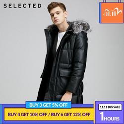 SELECTED Men Parka Outwear PU Multiple-pockets PU Leather Down Jacket|419412588