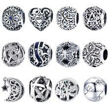 BISAER 925 пробы серебряные любовные бусины из фианита подходят для шармов серебряные 925 оригинальные браслеты изготовление бусин и ювелирных и...