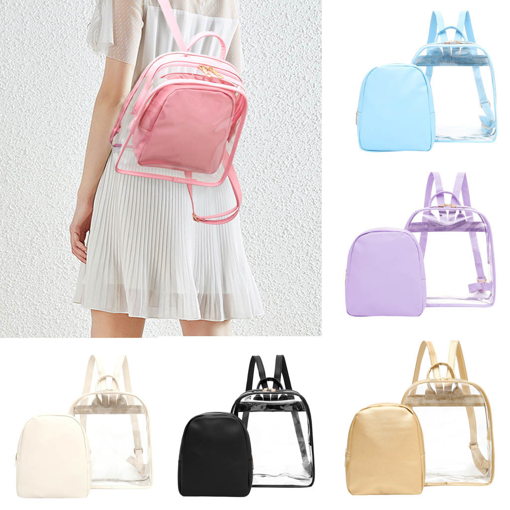 Waterproof Backpack Womens Clear Plastic See Through Security Transparent Travel Bag