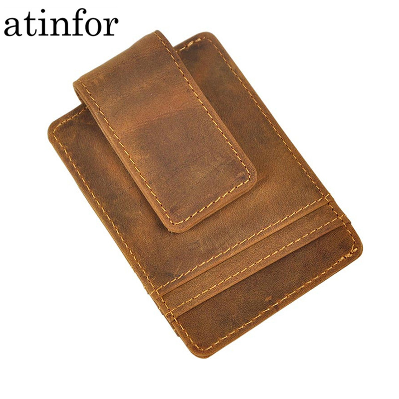 Vintage Genuine Leather Money Clip Front Pocket Clamp For Money Holders Magnet Magic Money Clips Wallet With Card ID Case