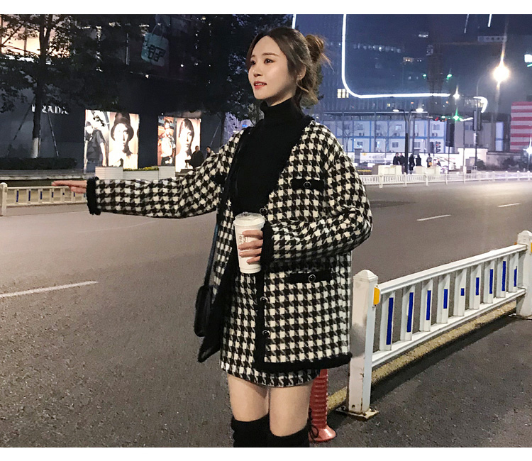 H7901986c16534cd684e67bb785c4904dx - Houndstooth Vintage Two Piece Sets Outfits Women Autumn Cardigan Tops And Mini Skirt Suits Elegant Ladies Fashion 2 Piece Sets